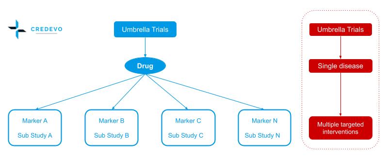 Clinical trial designs umbrella trial pattern design